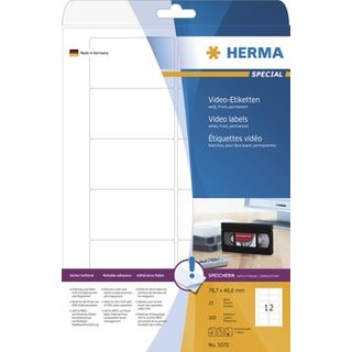 Herma 5070 - Video-Etiketten (Front) weiss - 78,7 x 46,6 mm