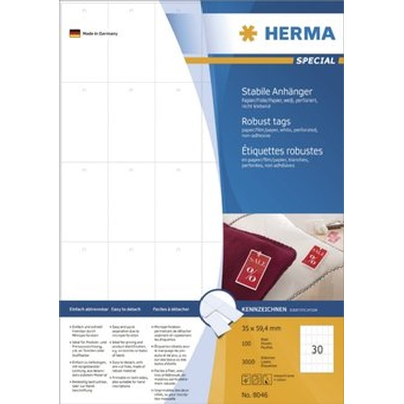Herma 8046 - Stabile Anhänger - 35,0 x 59,4mm